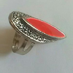 Pre-Loved Adjustable Silver-Tone Fashion Ring With Oval Red Accent